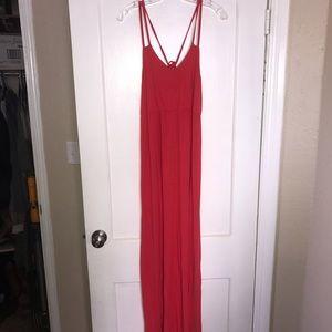 Coral Spaghetti Strap Maxi Dress